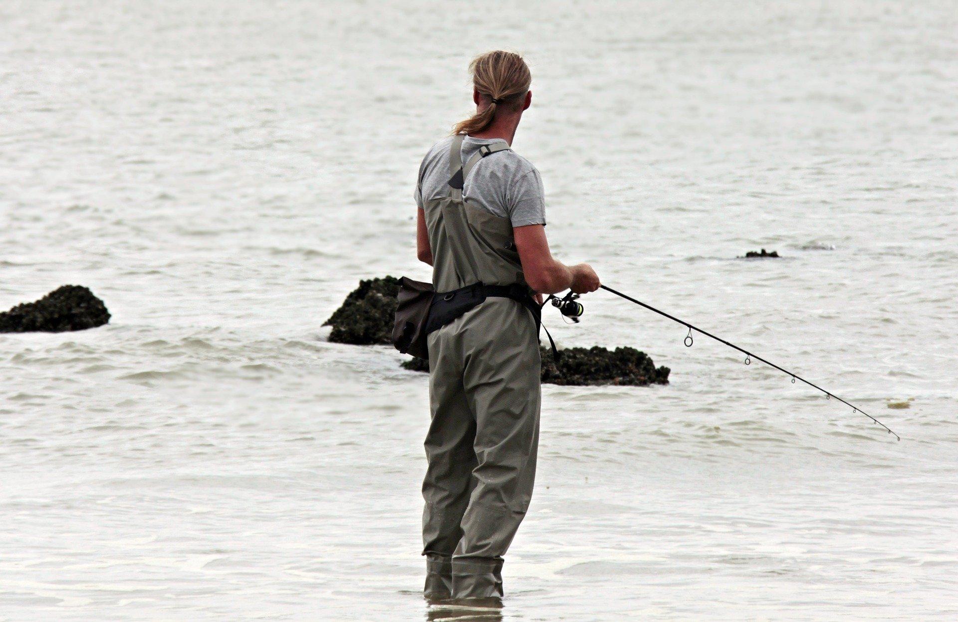 fisker med vaders ved kystvande